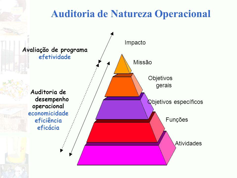 Auditoria de Natureza Operacional Missão Objetivos gerais Objetivos específicos Funções Atividades Auditoria de desempenho operacional economicidade e