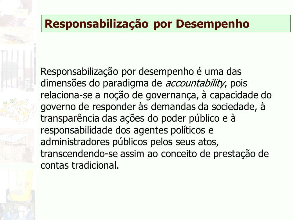 Responsabilização por Desempenho Responsabilização por desempenho é uma das dimensões do paradigma de accountability, pois relaciona-se a noção de gov