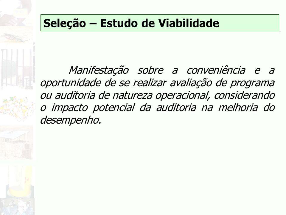 Seleção – Estudo de Viabilidade Manifestação sobre a conveniência e a oportunidade de se realizar avaliação de programa ou auditoria de natureza opera