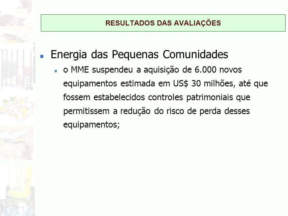 RESULTADOS DAS AVALIAÇÕES n Energia das Pequenas Comunidades n o MME suspendeu a aquisição de 6.000 novos equipamentos estimada em US$ 30 milhões, até