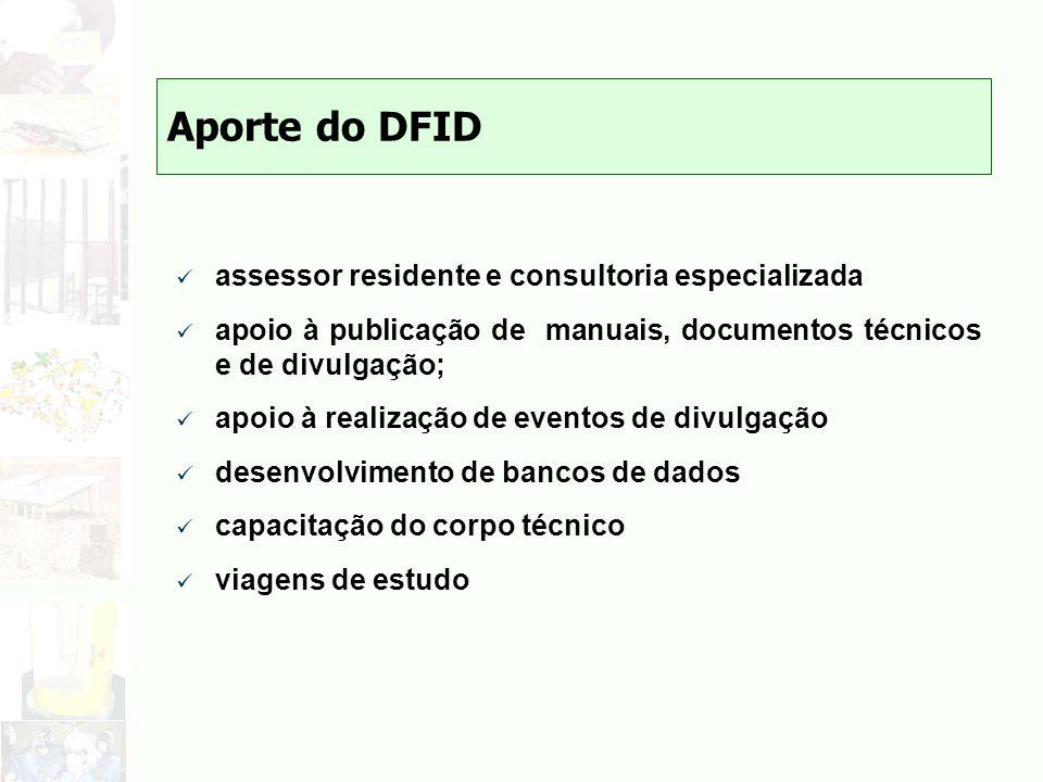 Aporte do DFID assessor residente e consultoria especializada apoio à publicação de manuais, documentos técnicos e de divulgação; apoio à realização d