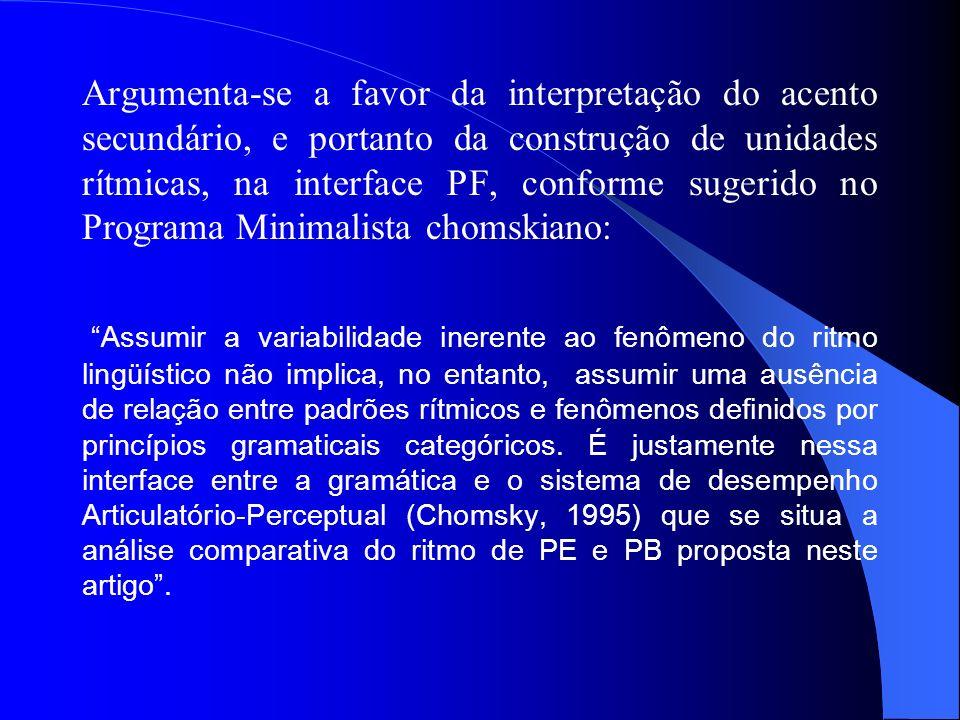 Argumenta-se a favor da interpretação do acento secundário, e portanto da construção de unidades rítmicas, na interface PF, conforme sugerido no Progr