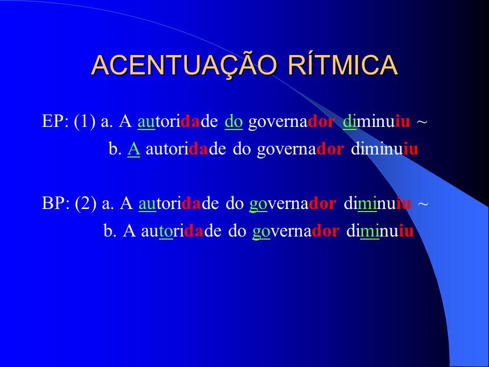 ACENTUAÇÃO RÍTMICA EP: (1) a. A autoridade do governador diminuiu ~ b. A autoridade do governador diminuiu BP: (2) a. A autoridade do governador dimin