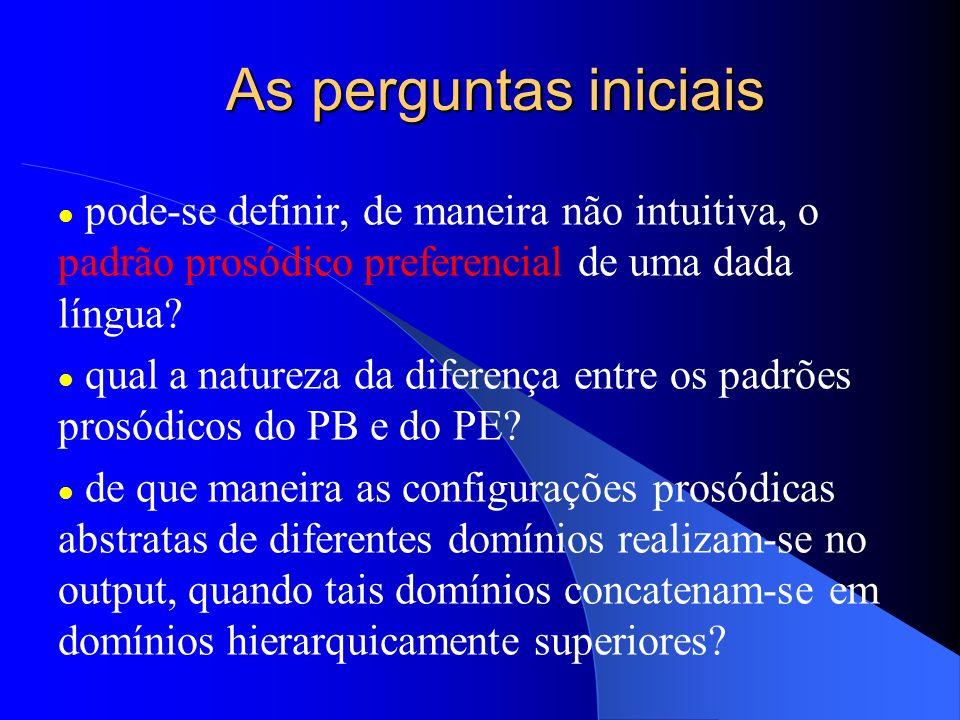 As perguntas iniciais pode-se definir, de maneira não intuitiva, o padrão prosódico preferencial de uma dada língua? qual a natureza da diferença entr