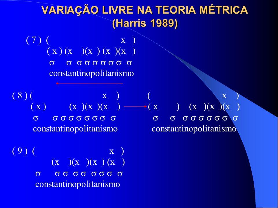 VARIAÇÃO LIVRE NA TEORIA MÉTRICA (Harris 1989) ( 7 ) ( x ) ( x ) (x )(x ) (x )(x ) constantinopolitanismo ( 8 ) ( x ) ( x ) ( x ) (x )(x )(x ) ( x ) (