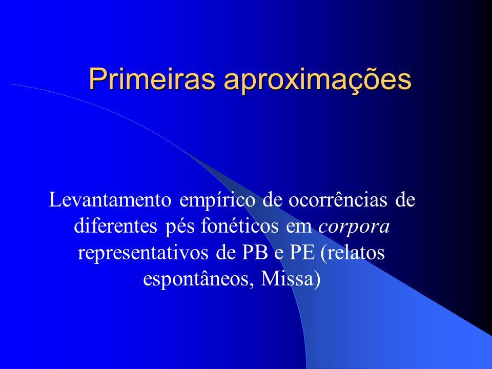 Primeiras aproximações Levantamento empírico de ocorrências de diferentes pés fonéticos em corpora representativos de PB e PE (relatos espontâneos, Mi