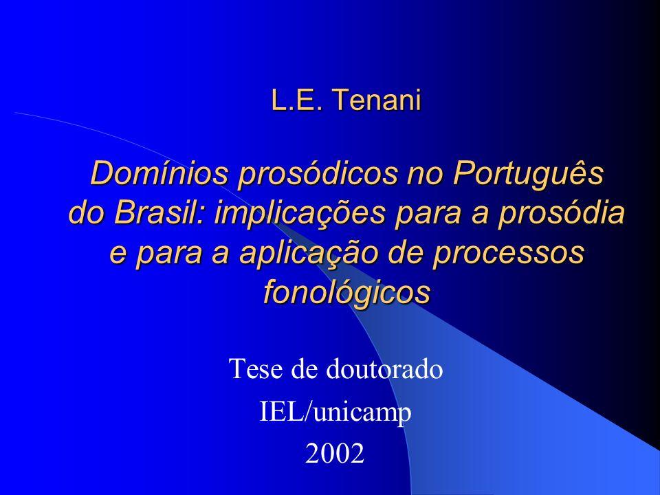 L.E. Tenani Domínios prosódicos no Português do Brasil: implicações para a prosódia e para a aplicação de processos fonológicos Tese de doutorado IEL/
