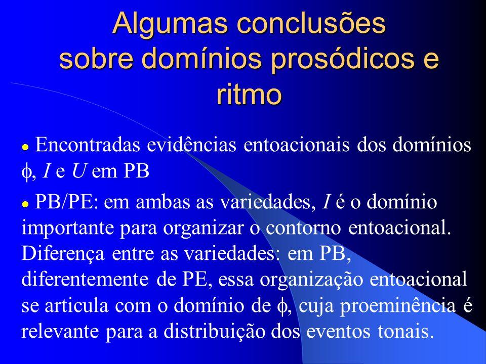 Algumas conclusões sobre domínios prosódicos e ritmo Encontradas evidências entoacionais dos domínios, I e U em PB PB/PE: em ambas as variedades, I é