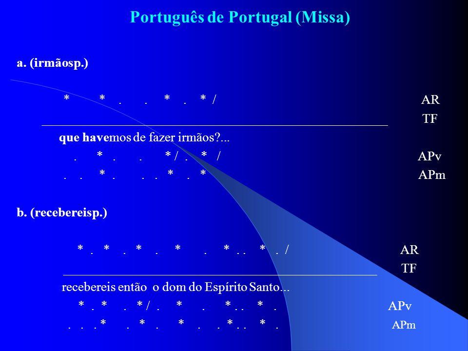 Português de Portugal (Missa) a. (irmãosp.) * *.. *. * / AR _____________________________________________________ TF que havemos de fazer irmãos?....