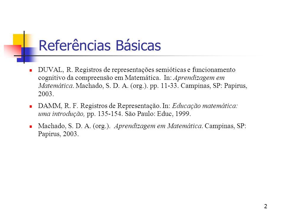 2 Referências Básicas DUVAL, R. Registros de representações semióticas e funcionamento cognitivo da compreensão em Matemática. In: Aprendizagem em Mat