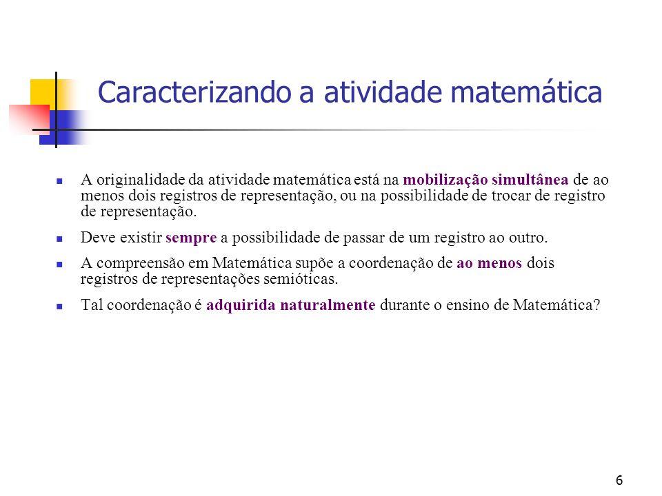 6 A originalidade da atividade matemática está na mobilização simultânea de ao menos dois registros de representação, ou na possibilidade de trocar de