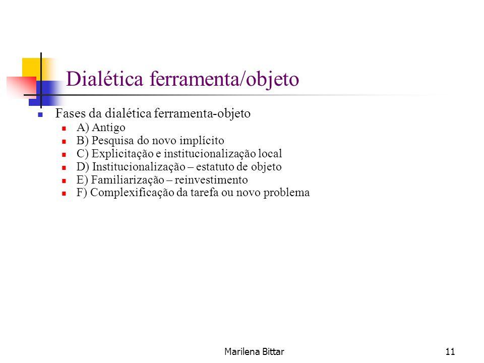 Marilena Bittar11 Dialética ferramenta/objeto Fases da dialética ferramenta-objeto A) Antigo B) Pesquisa do novo implícito C) Explicitação e instituci