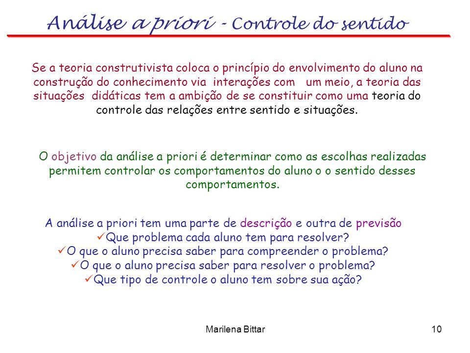 Marilena Bittar10 Se a teoria construtivista coloca o princípio do envolvimento do aluno na construção do conhecimento via interações com um meio, a t