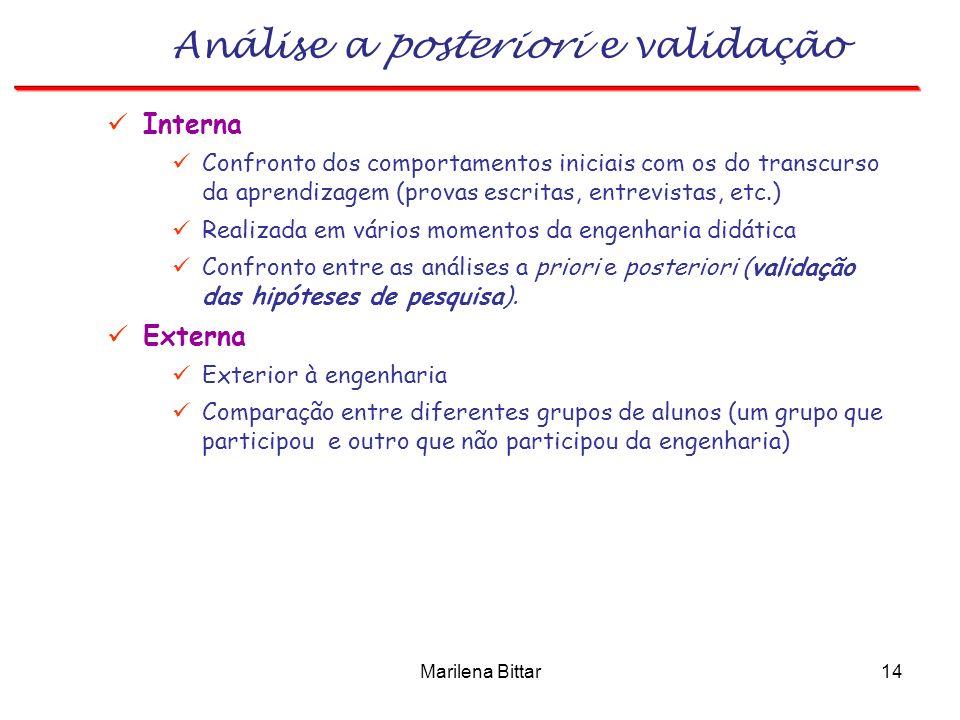 Marilena Bittar14 Análise a posteriori e validação Interna Confronto dos comportamentos iniciais com os do transcurso da aprendizagem (provas escritas