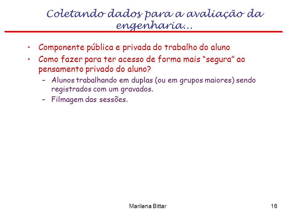 Marilena Bittar16 Coletando dados para a avaliação da engenharia... Componente pública e privada do trabalho do aluno Como fazer para ter acesso de fo