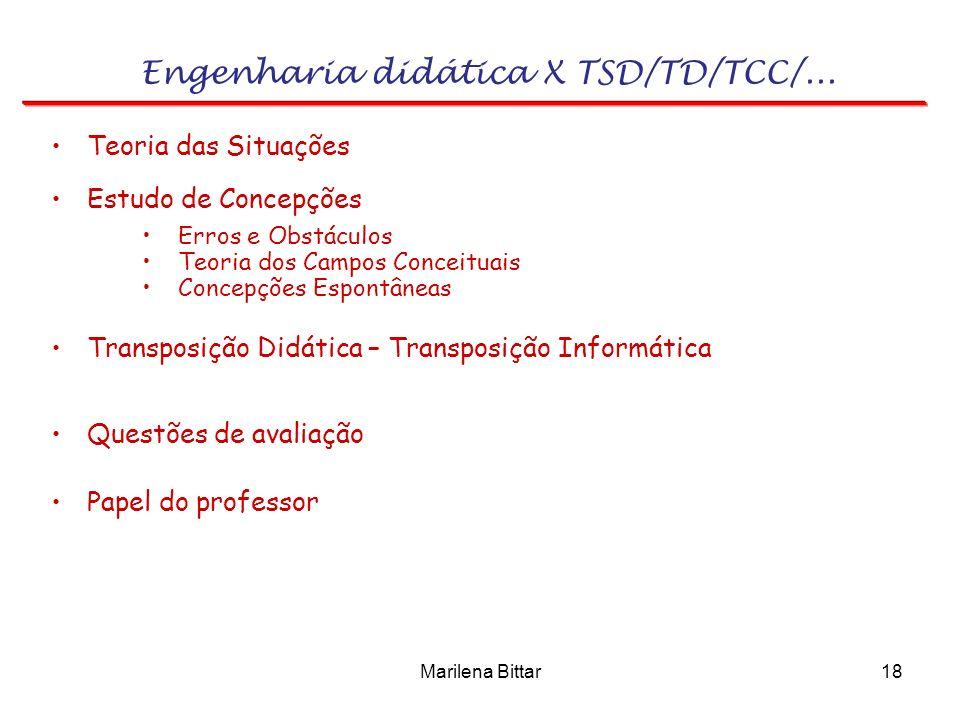 Marilena Bittar18 Engenharia didática X TSD/TD/TCC/... Transposição Didática – Transposição Informática Estudo de Concepções Teoria das Situações Erro