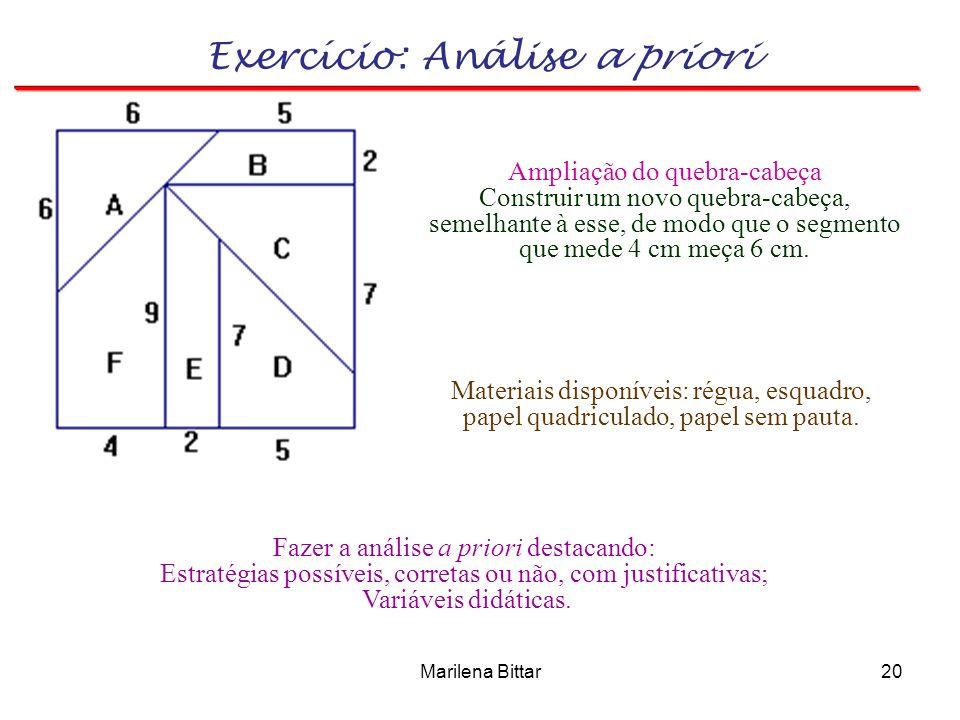 Marilena Bittar20 Ampliação do quebra-cabeça Construir um novo quebra-cabeça, semelhante à esse, de modo que o segmento que mede 4 cm meça 6 cm. Mater