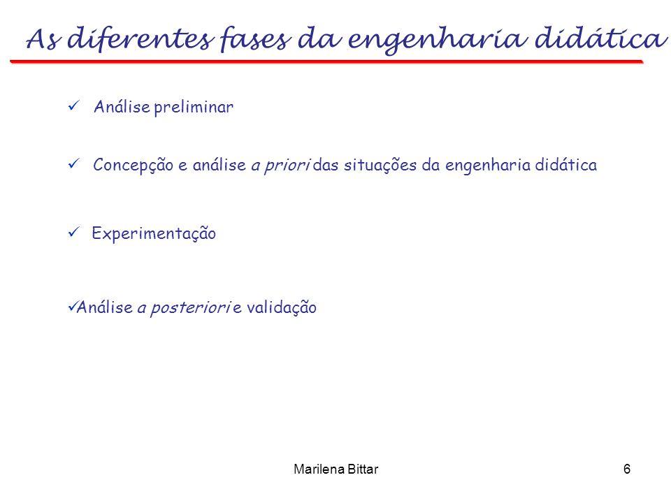 Marilena Bittar6 As diferentes fases da engenharia didática Análise preliminar Experimentação Análise a posteriori e validação Concepção e análise a p