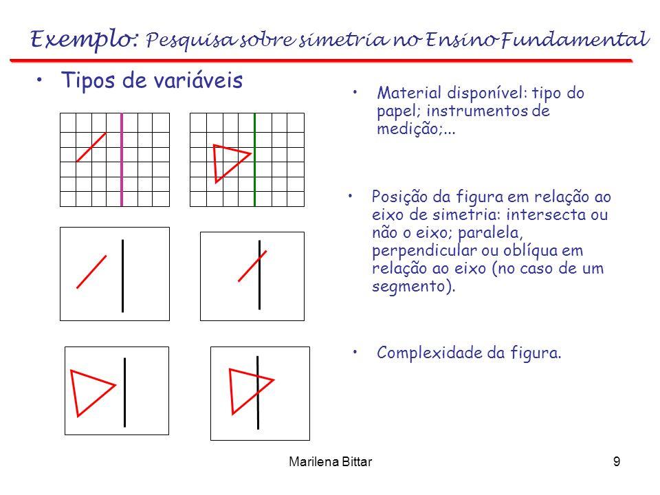 Marilena Bittar9 Exemplo: Pesquisa sobre simetria no Ensino Fundamental Tipos de variáveis Material disponível: tipo do papel; instrumentos de medição