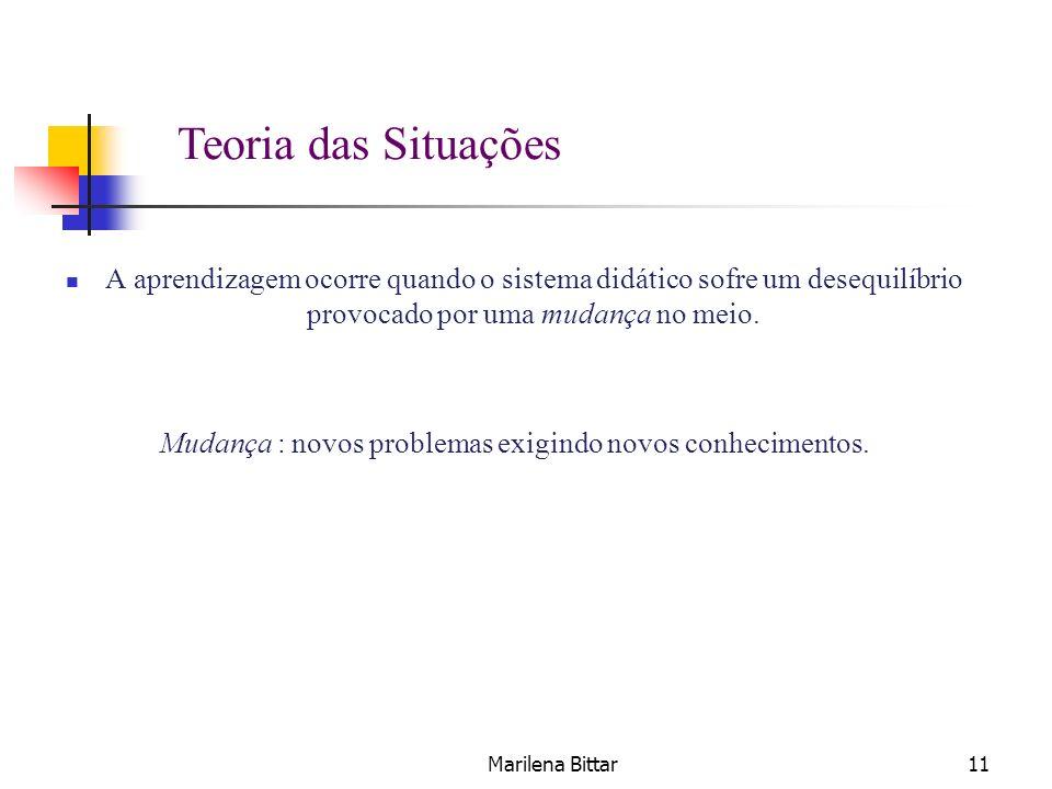 Marilena Bittar11 A aprendizagem ocorre quando o sistema didático sofre um desequilíbrio provocado por uma mudança no meio. Mudança : novos problemas