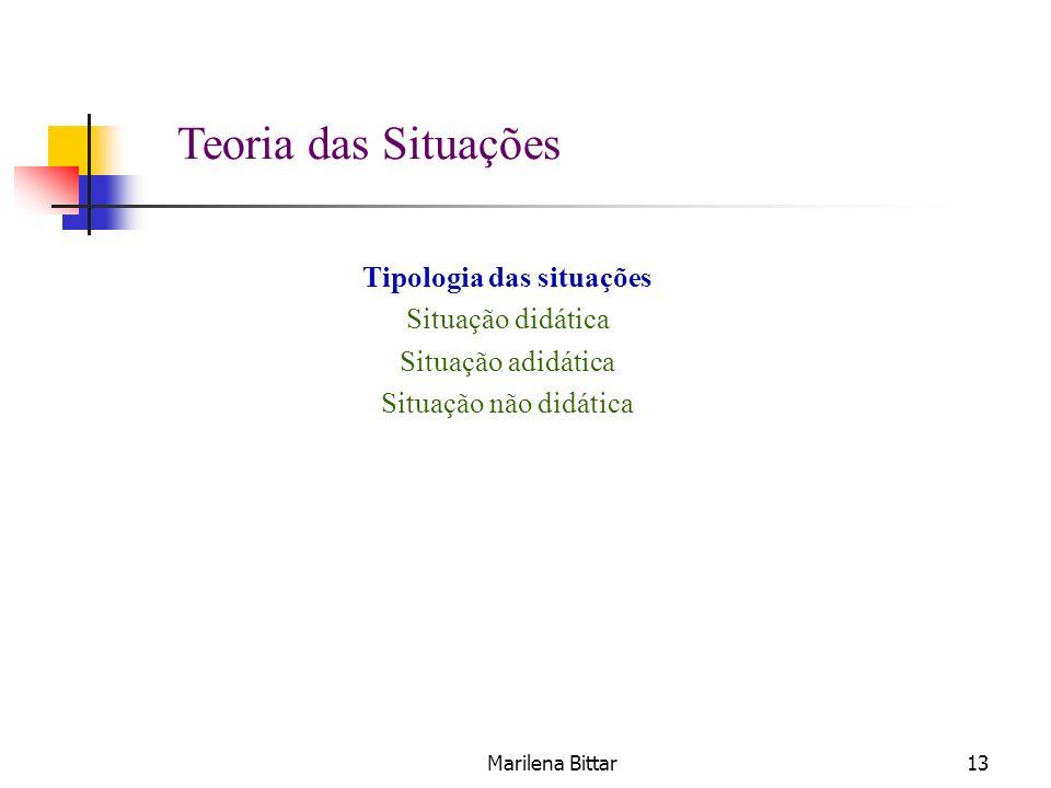 Marilena Bittar13 Tipologia das situações Situação didática Situação adidática Situação não didática Teoria das Situações