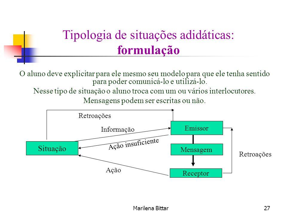 Marilena Bittar27 Tipologia de situações adidáticas: formulação O aluno deve explicitar para ele mesmo seu modelo para que ele tenha sentido para pode