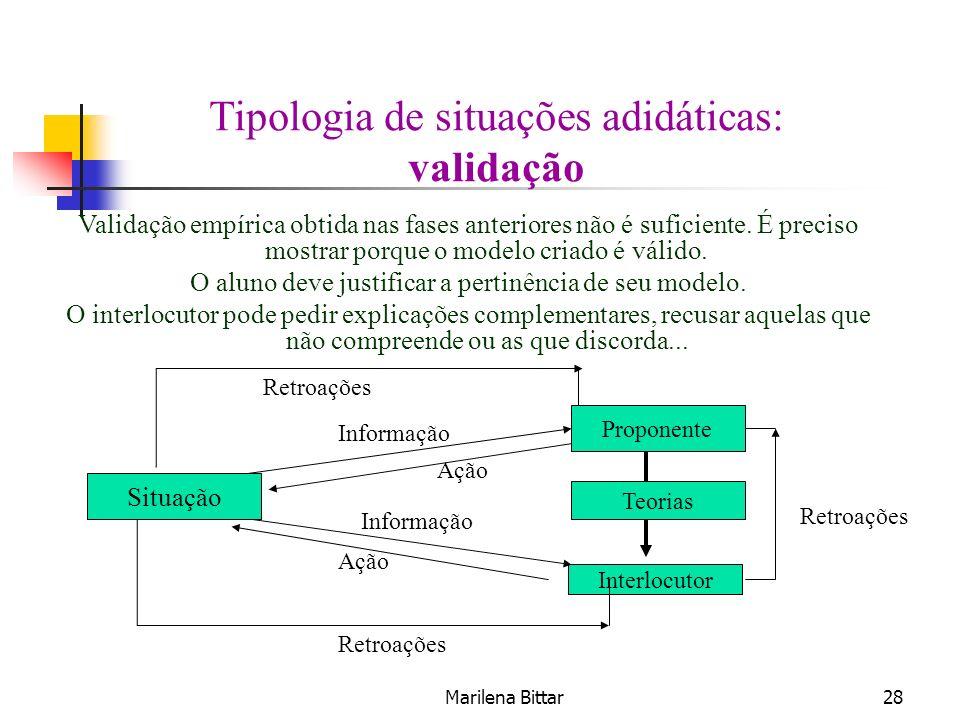 Marilena Bittar28 Tipologia de situações adidáticas: validação Validação empírica obtida nas fases anteriores não é suficiente. É preciso mostrar porq