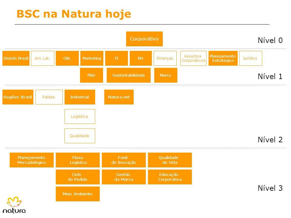 BSC na Natura hoje Corporativo O&LMarketingDivisão BrasilAm. Lat. P&D Finanças Assuntos Corporativos RHTI Industrial Logística Qualidade Regiões Brasi
