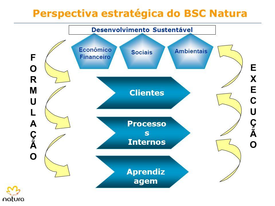 Sociais Ambientais Econômico Financeiro Perspectiva estratégica do BSC Natura Clientes Processo s Internos Aprendiz agem EXECUÇÃOEXECUÇÃO FORMULAÇÃOFO