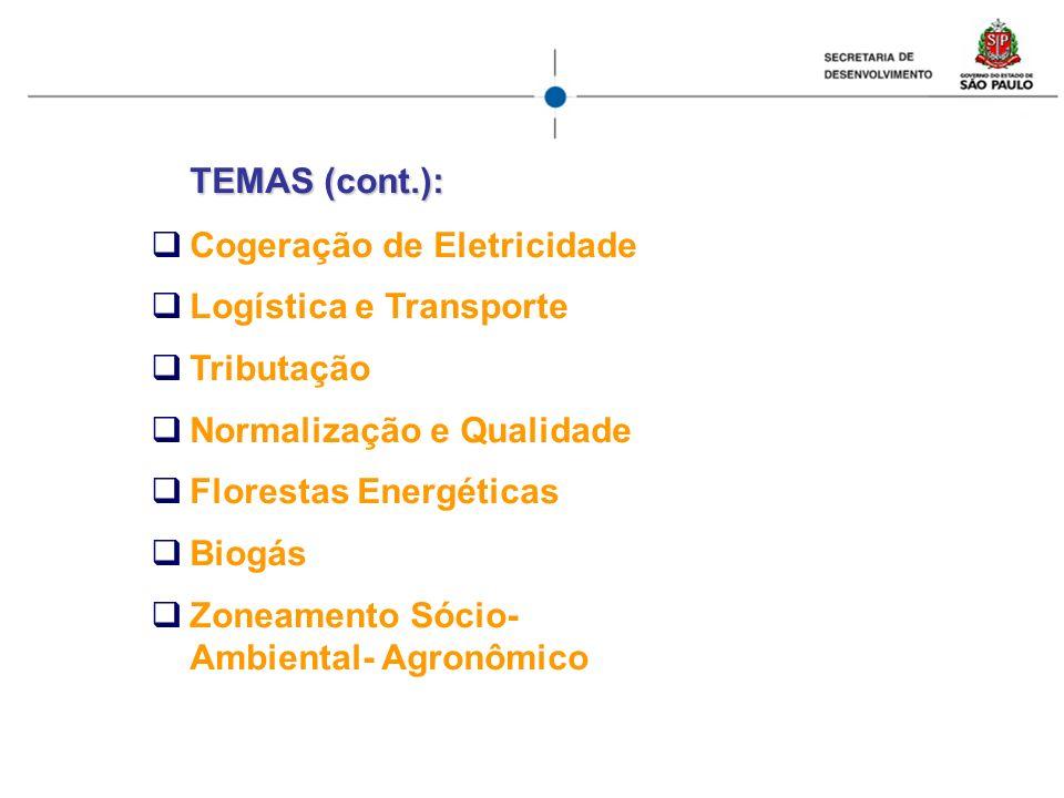 TEMAS (cont.): Cogeração de Eletricidade Logística e Transporte Tributação Normalização e Qualidade Florestas Energéticas Biogás Zoneamento Sócio- Amb