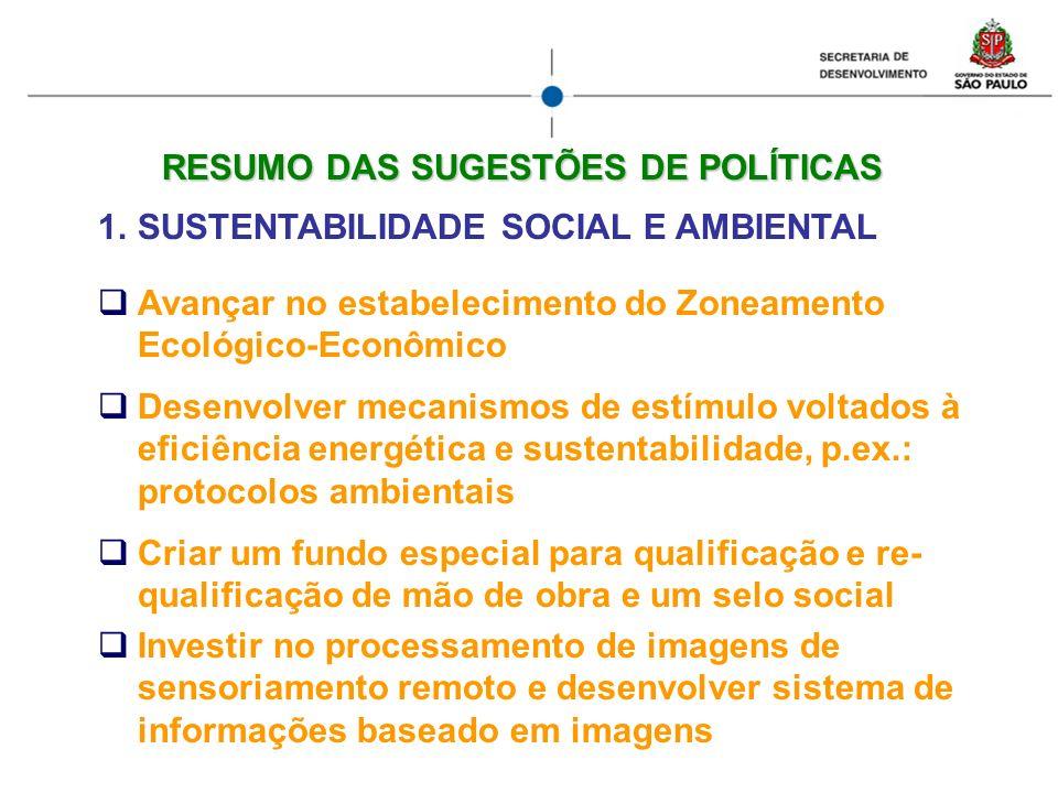 RESUMO DAS SUGESTÕES DE POLÍTICAS 1.SUSTENTABILIDADE SOCIAL E AMBIENTAL Avançar no estabelecimento do Zoneamento Ecológico-Econômico Desenvolver mecan