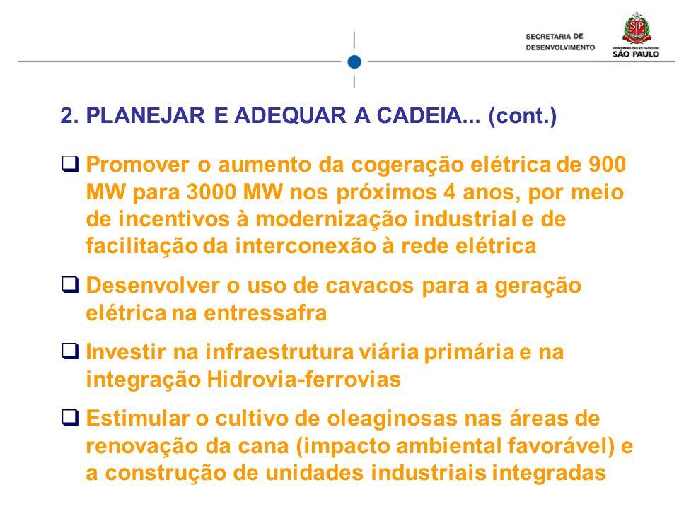 2.PLANEJAR E ADEQUAR A CADEIA... (cont.) Promover o aumento da cogeração elétrica de 900 MW para 3000 MW nos próximos 4 anos, por meio de incentivos à