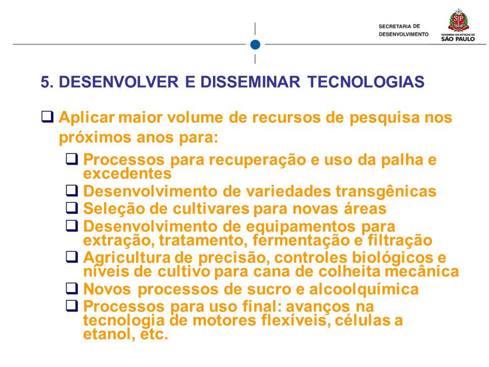 5.DESENVOLVER E DISSEMINAR TECNOLOGIAS Aplicar maior volume de recursos de pesquisa nos próximos anos para: Processos para recuperação e uso da palha