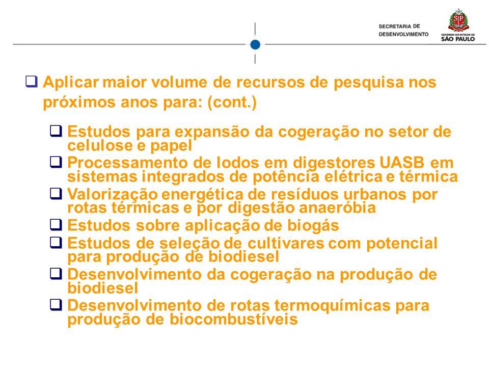 Aplicar maior volume de recursos de pesquisa nos próximos anos para: (cont.) Estudos para expansão da cogeração no setor de celulose e papel Processam
