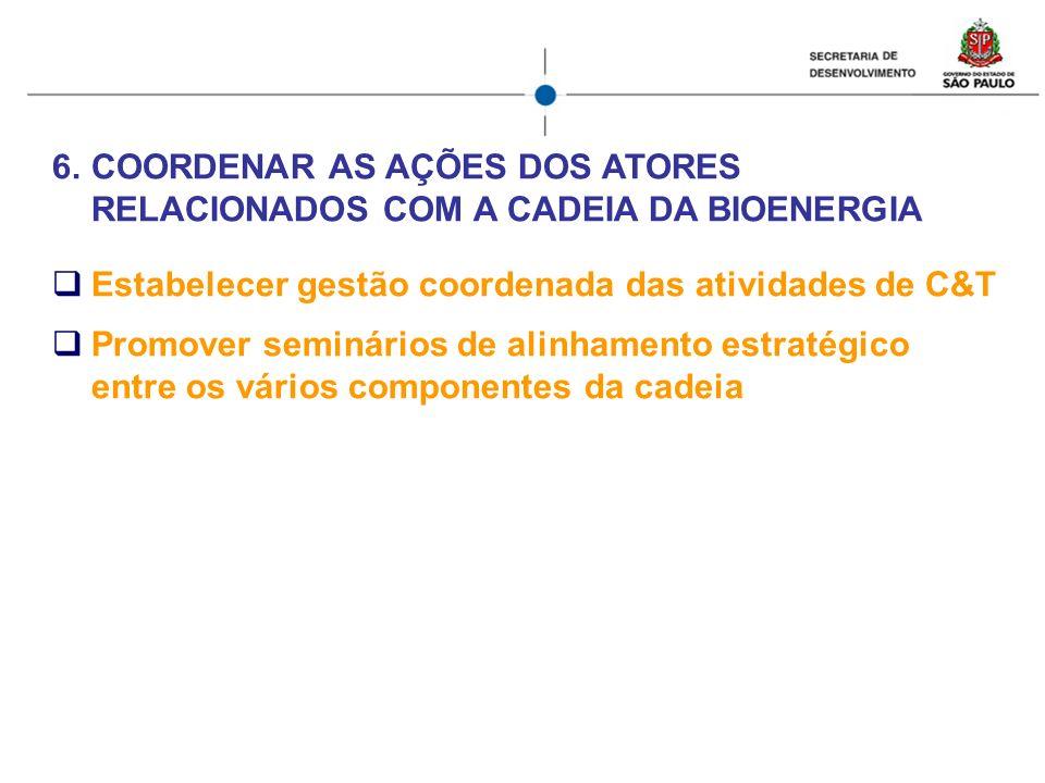 6.COORDENAR AS AÇÕES DOS ATORES RELACIONADOS COM A CADEIA DA BIOENERGIA Estabelecer gestão coordenada das atividades de C&T Promover seminários de ali