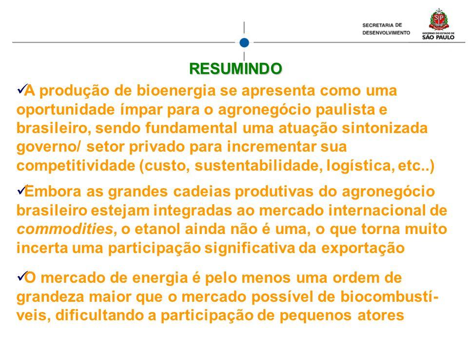 A produção de bioenergia se apresenta como uma oportunidade ímpar para o agronegócio paulista e brasileiro, sendo fundamental uma atuação sintonizada