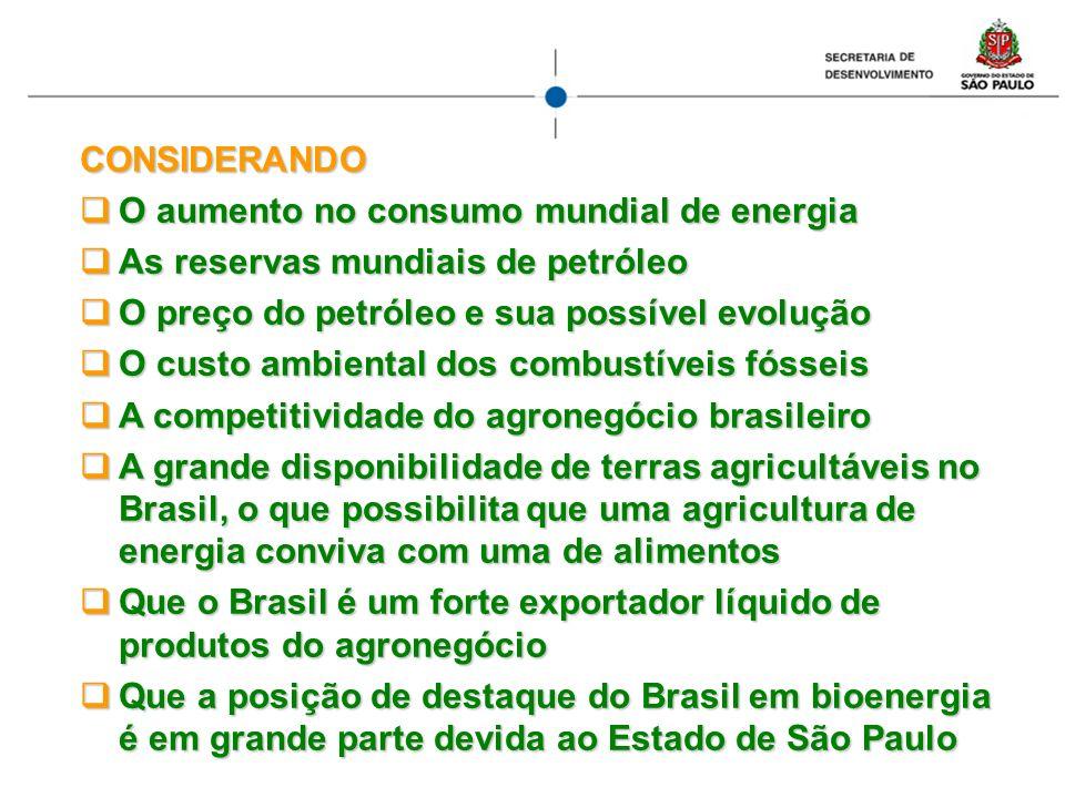 CONSIDERANDO O aumento no consumo mundial de energia O aumento no consumo mundial de energia As reservas mundiais de petróleo As reservas mundiais de