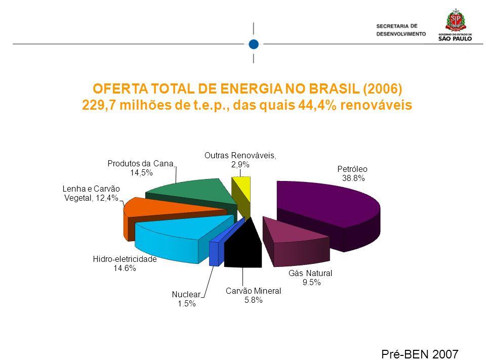 OFERTA TOTAL DE ENERGIA NO BRASIL (2006) 229,7 milhões de t.e.p., das quais 44,4% renováveis Pré-BEN 2007