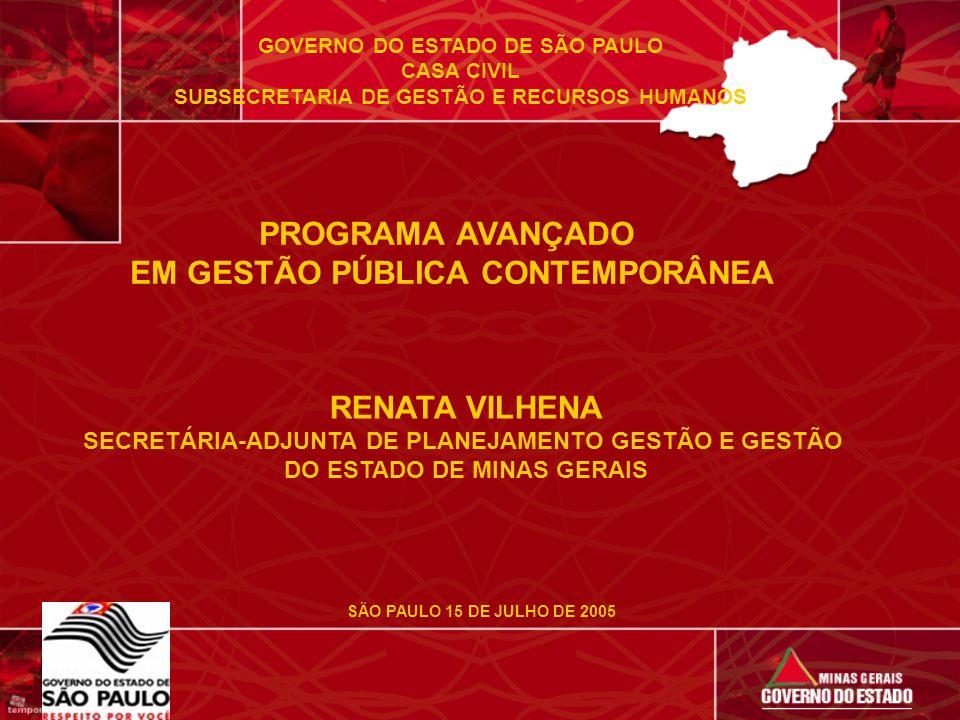GOVERNO DO ESTADO DE SÃO PAULO CASA CIVIL SUBSECRETARIA DE GESTÃO E RECURSOS HUMANOS PROGRAMA AVANÇADO EM GESTÃO PÚBLICA CONTEMPORÂNEA RENATA VILHENA