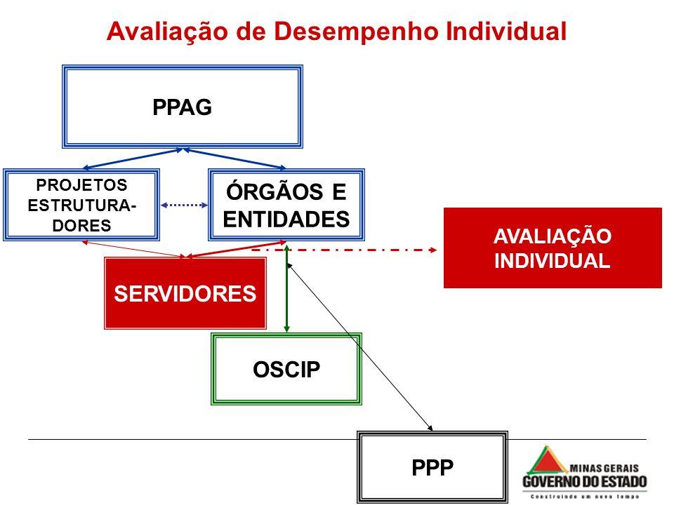 PPAG ÓRGÃOS E ENTIDADES PROJETOS ESTRUTURA- DORES AVALIAÇÃO INDIVIDUAL OSCIP SERVIDORES PPP