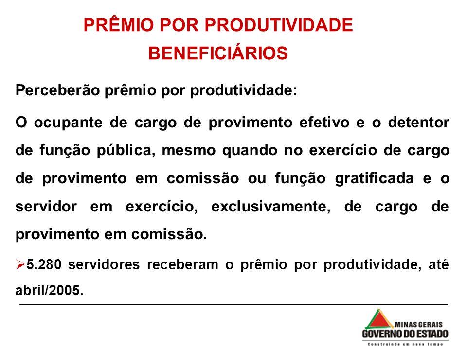 PRÊMIO POR PRODUTIVIDADE BENEFICIÁRIOS Perceberão prêmio por produtividade: O ocupante de cargo de provimento efetivo e o detentor de função pública,