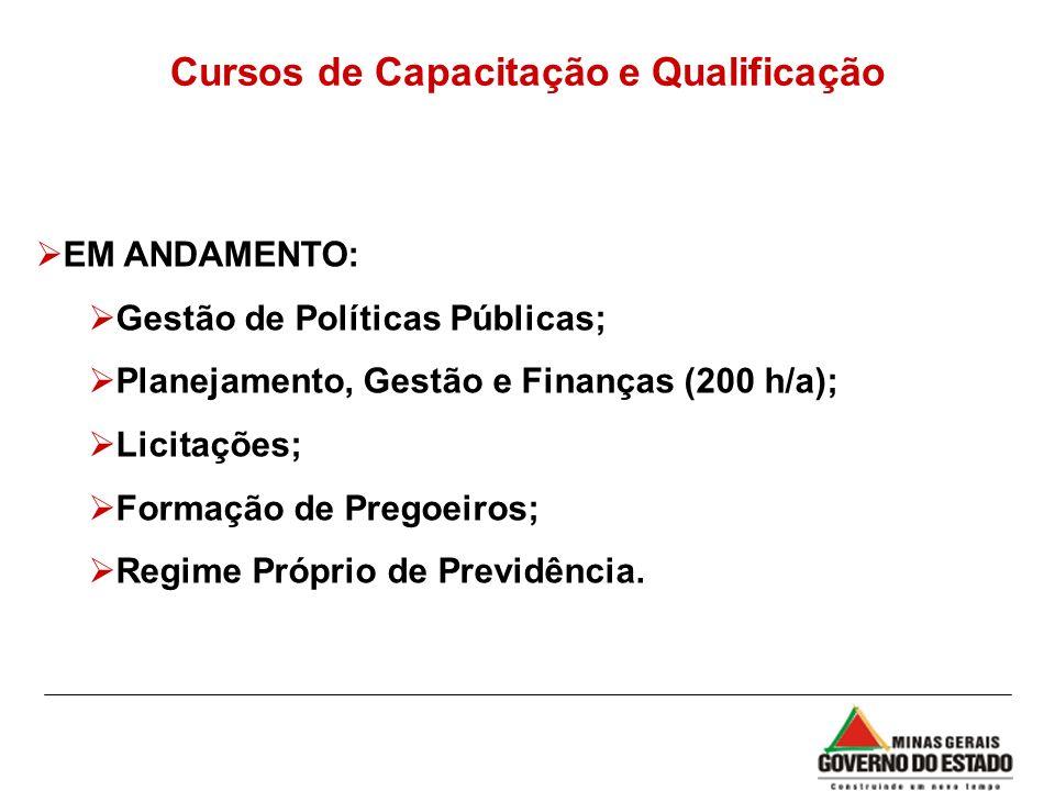 Cursos de Capacitação e Qualificação EM ANDAMENTO: Gestão de Políticas Públicas; Planejamento, Gestão e Finanças (200 h/a); Licitações; Formação de Pr