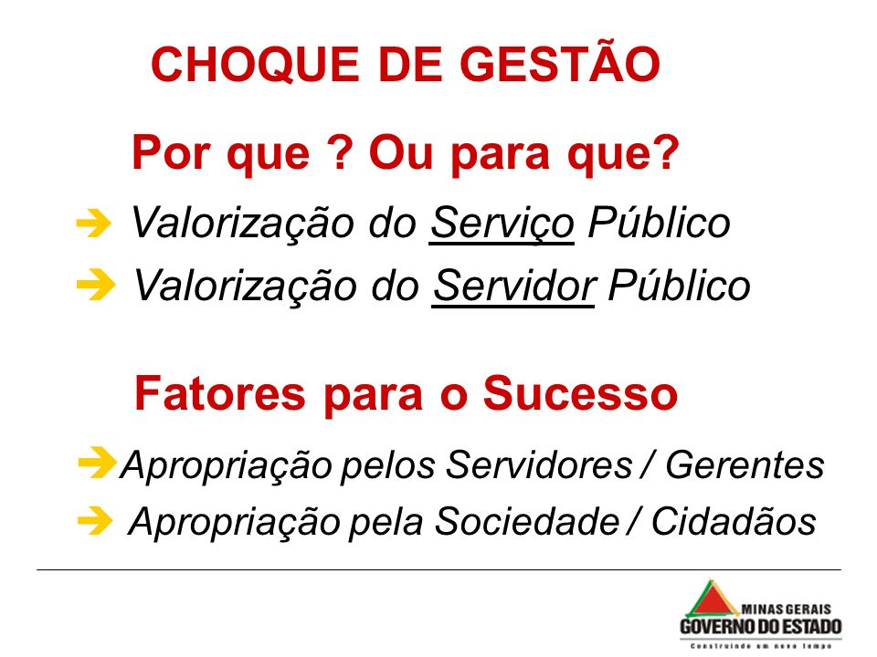 CHOQUE DE GESTÃO Por que ? Ou para que? è Valorização do Serviço Público è Valorização do Servidor Público è Apropriação pelos Servidores / Gerentes è