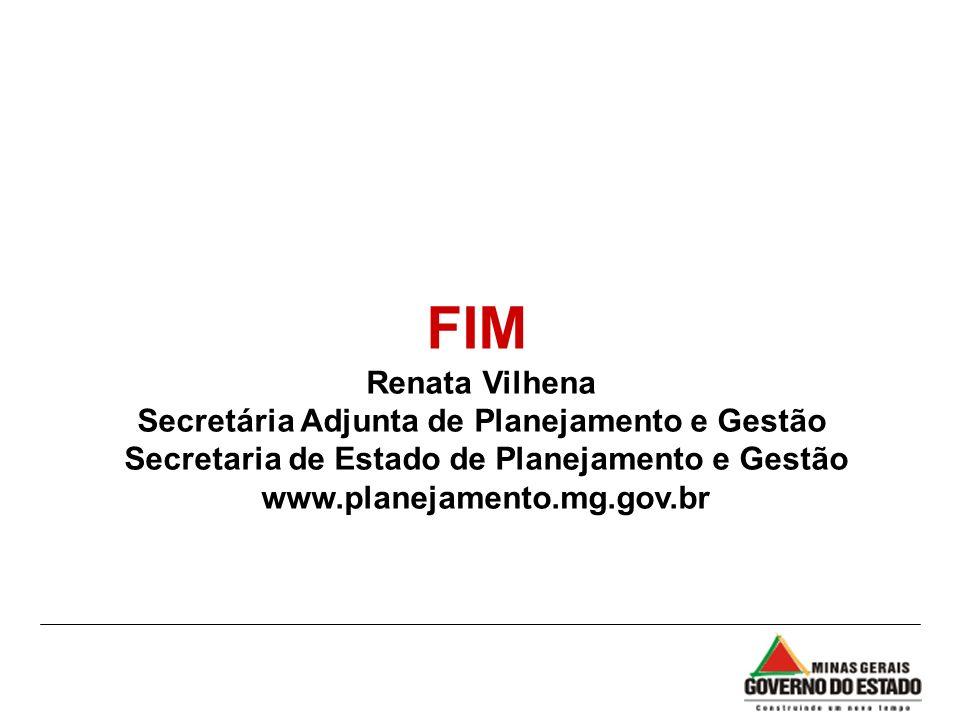 FIM Renata Vilhena Secretária Adjunta de Planejamento e Gestão Secretaria de Estado de Planejamento e Gestão www.planejamento.mg.gov.br
