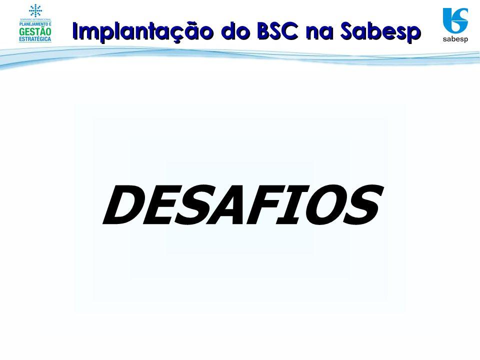 DESAFIOS Implantação do BSC na Sabesp