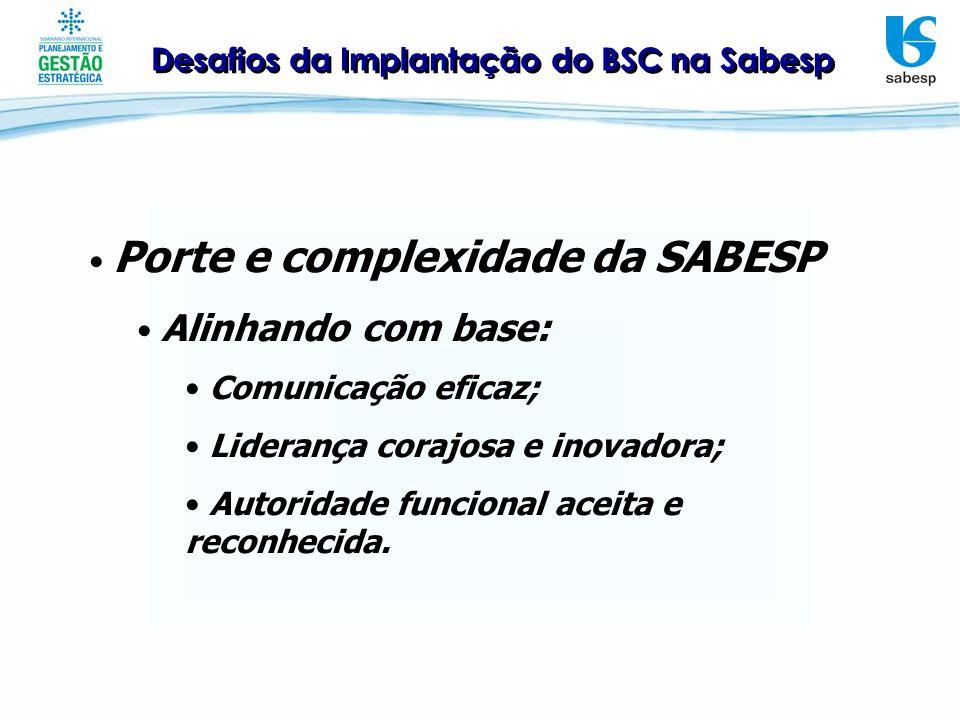 Desafios da Implantação do BSC na Sabesp Porte e complexidade da SABESP Alinhando com base: Comunicação eficaz; Liderança corajosa e inovadora; Autori