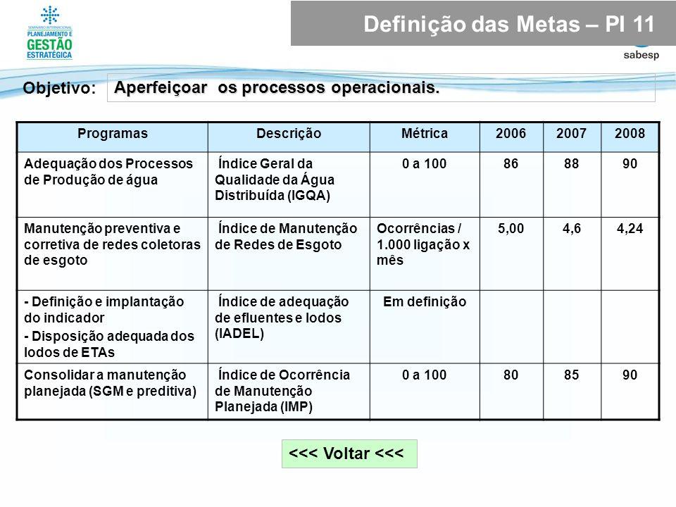 <<< Voltar <<< Objetivo: Aperfeiçoar os processos operacionais. Definição das Metas – PI 11 ProgramasDescriçãoMétrica200620072008 Adequação dos Proces