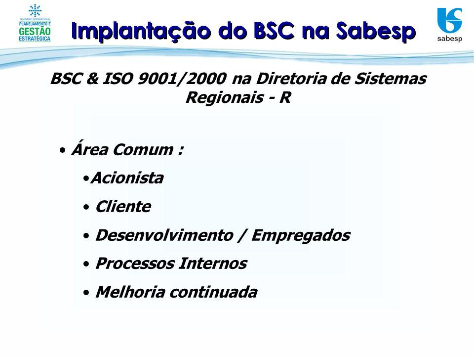 Implantação do BSC na Sabesp BSC & ISO 9001/2000 na Diretoria de Sistemas Regionais - R Controle : ISO 9001/2000 – Auditoria Interna e Externa a cada 3 meses.