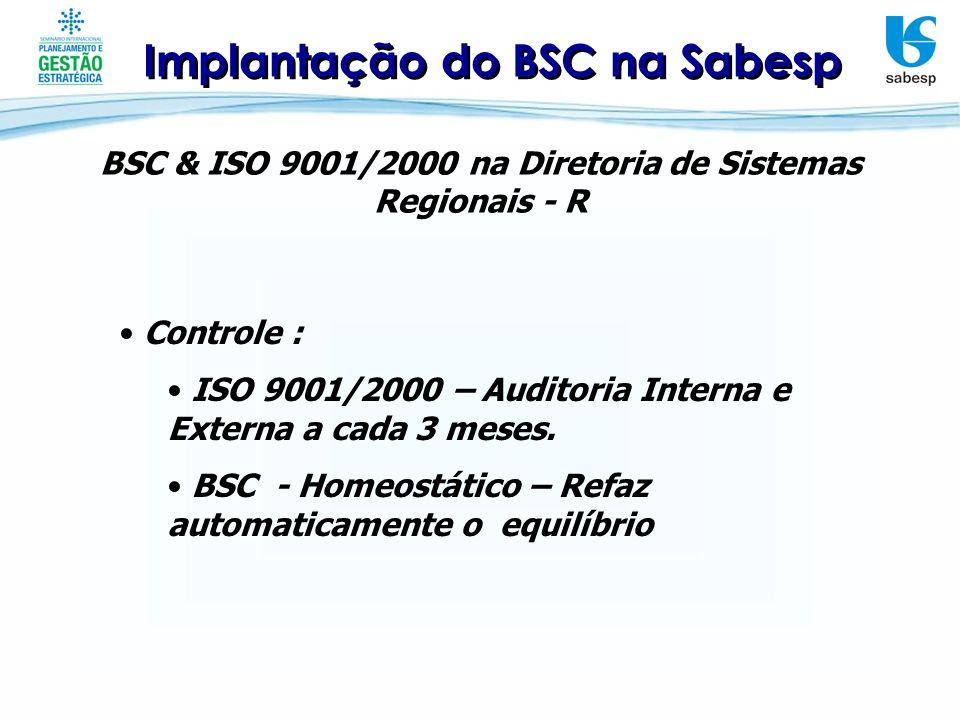 Implantação do BSC na Sabesp BSC & ISO 9001/2000 na Diretoria de Sistemas Regionais - R Adições trazidas pelo BSC : Descrição da estratégia, medição para gerenciar; Gerenciar para atingir os resultados; Objetivos encadeados (Causa/Efeito); Balanceamento.