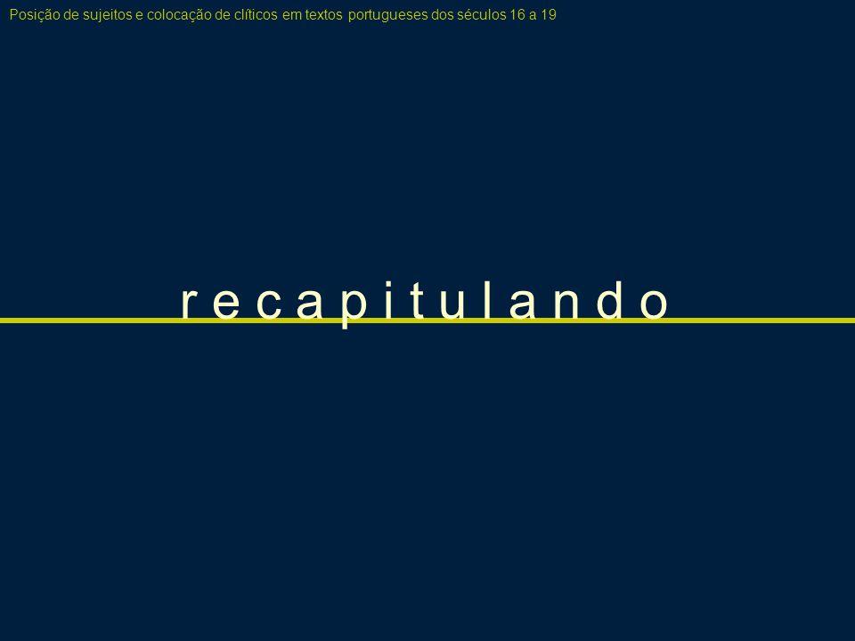 r e c a p i t u l a n d o Posição de sujeitos e colocação de clíticos em textos portugueses dos séculos 16 a 19